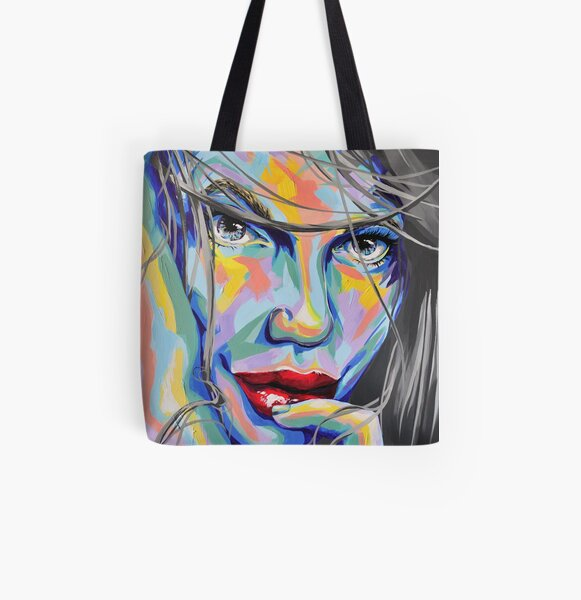 """Rainbow Sisters - Nele"" Frauenporträt by #carographic Allover-Print Tote Bag"