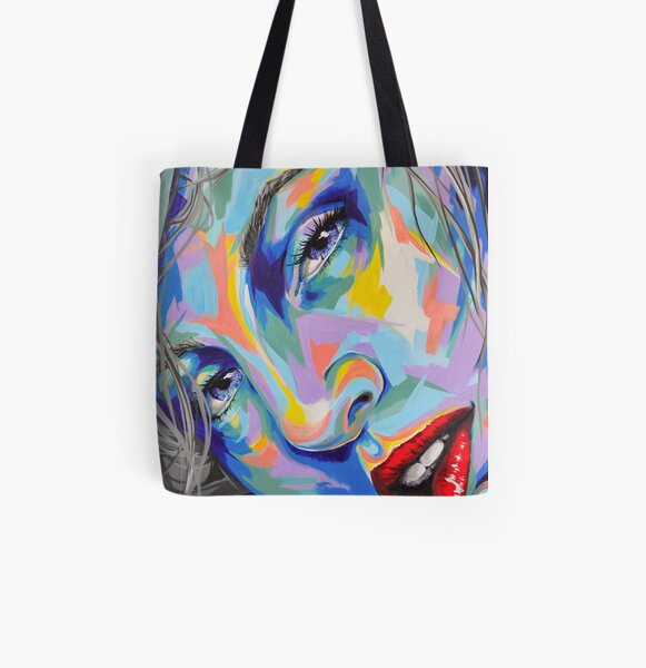 """Rainbow Sisters - Lene"" Frauenporträt by #carographic Allover-Print Tote Bag"