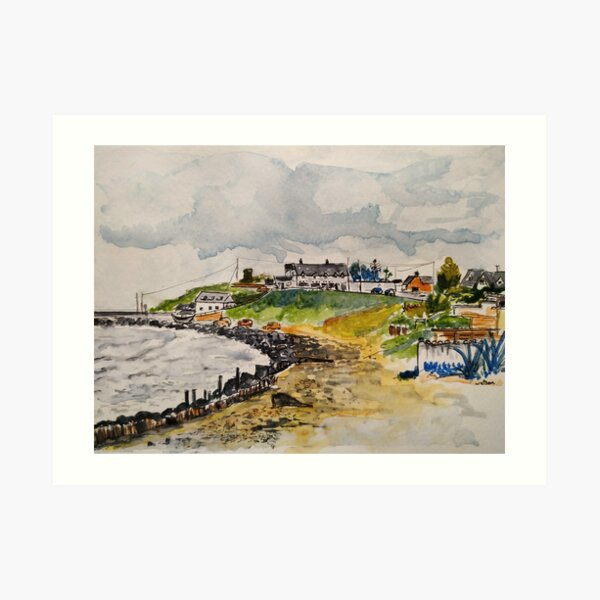 The beach and Strand Bar at Cahore, County Wexford, Ireland Art Print