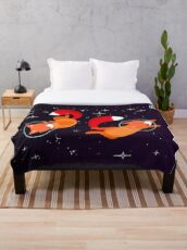 Space Foxes Throw Blanket