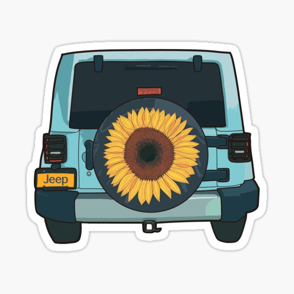 Sunflower blue Jeep llustration Sticker