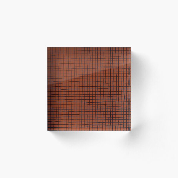 Navy and Rust (XV) Thread Pattern Acrylic Block
