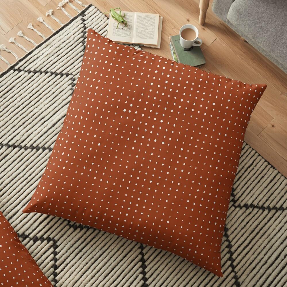 Light grey dots on rust  Floor Pillow