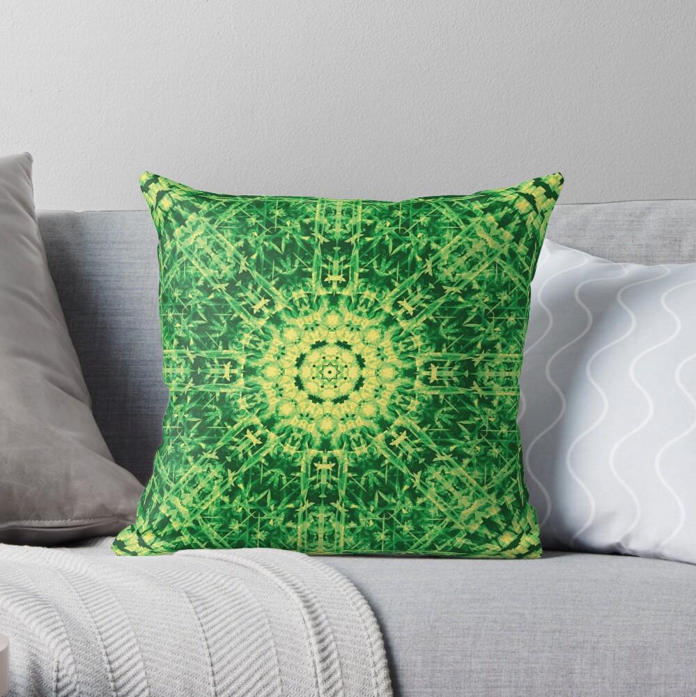 Jungle Weave - Forest Green Throw Pillow
