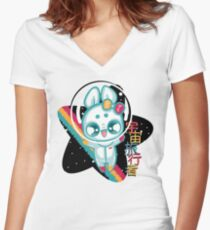 Moon Bunnies: Space Traveller Women's Fitted V-Neck T-Shirt