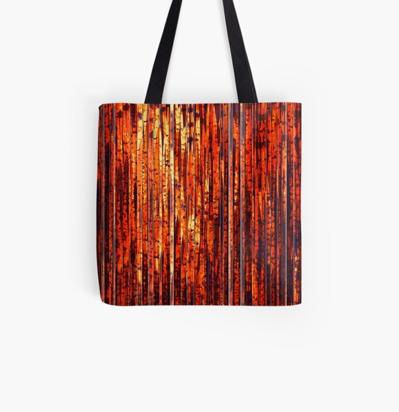 Abstract Orange Stripes All Over Print Tote Bag