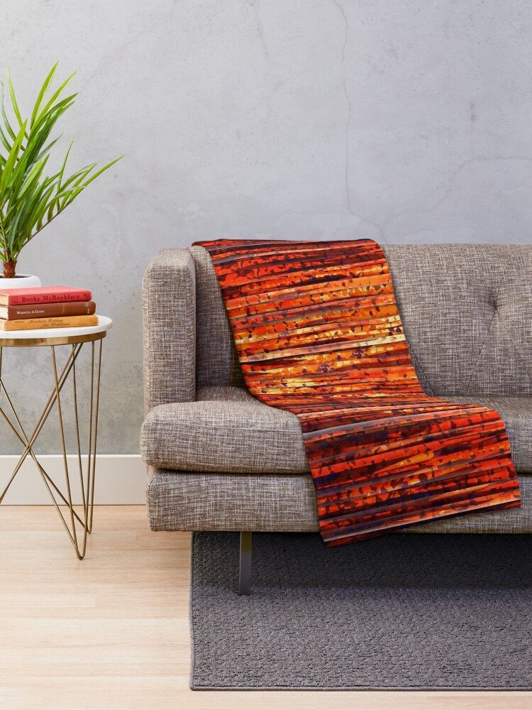 Alternate view of Abstract Orange Stripes Throw Blanket