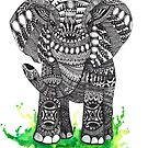 Watercolor and Ink Mandala Elephant  by Ibubblesart