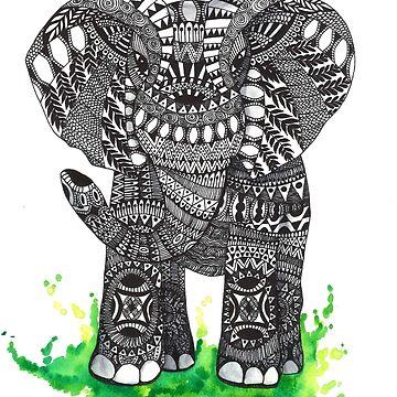 Watercolor and Ink Mandala Elephant  by Ibubblesart