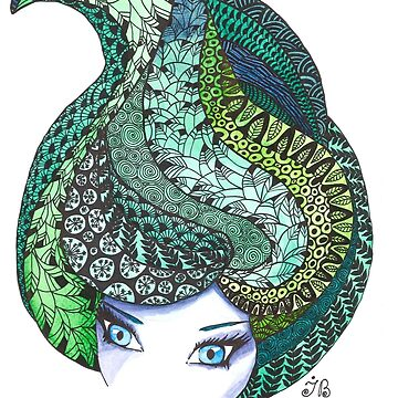 Zentangle and watercolor head by Ibubblesart