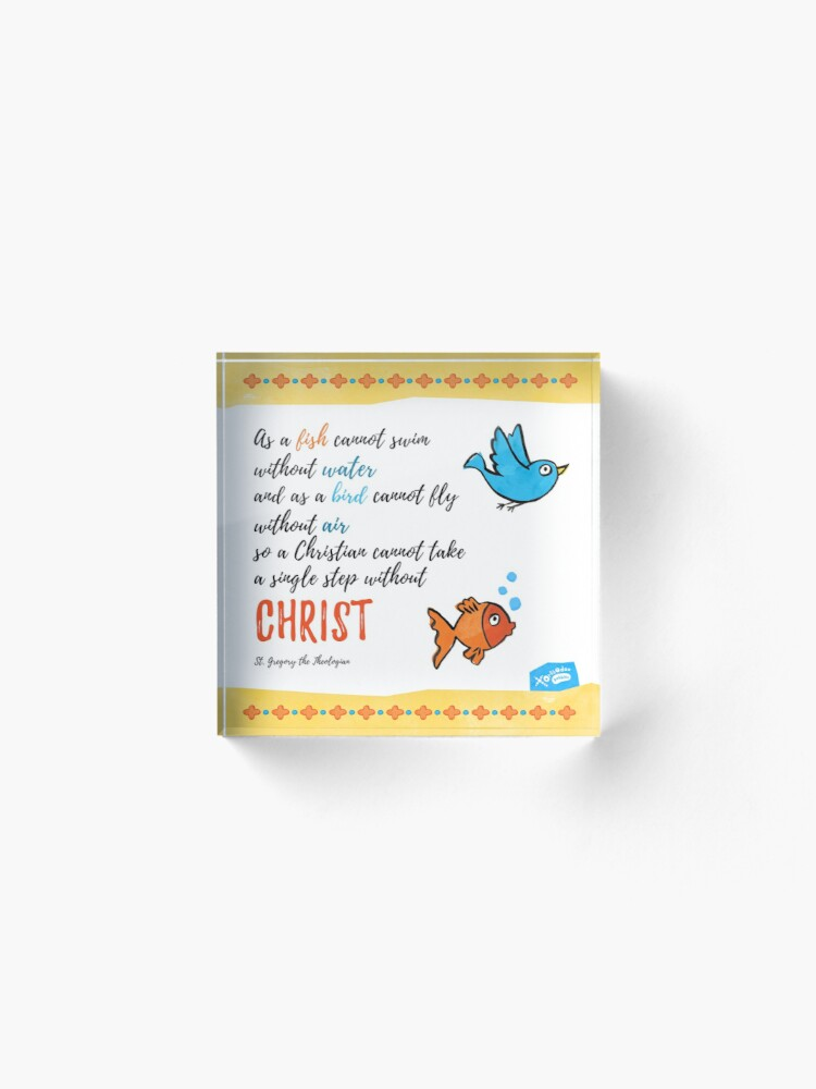 Alternate view of St Gregory Theologian quote Acrylic Block