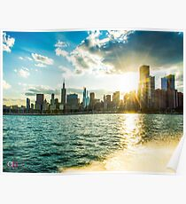 Skyline View from the Lake Michigan Poster
