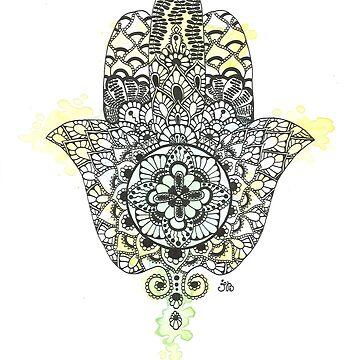 Watercolor Hamsa Hand by Ibubblesart