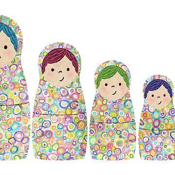 Muñecas de anidación Rainbow Matryoshka de ElephantTrunk