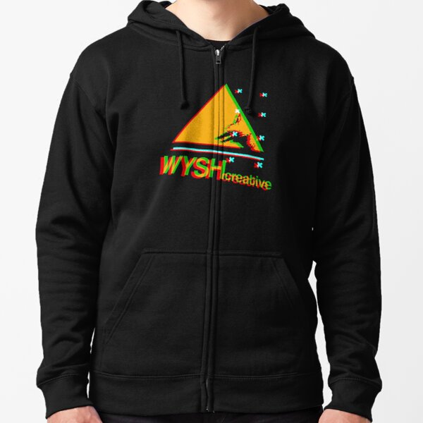WYSHcreative 'Glitch' logo Zipped Hoodie