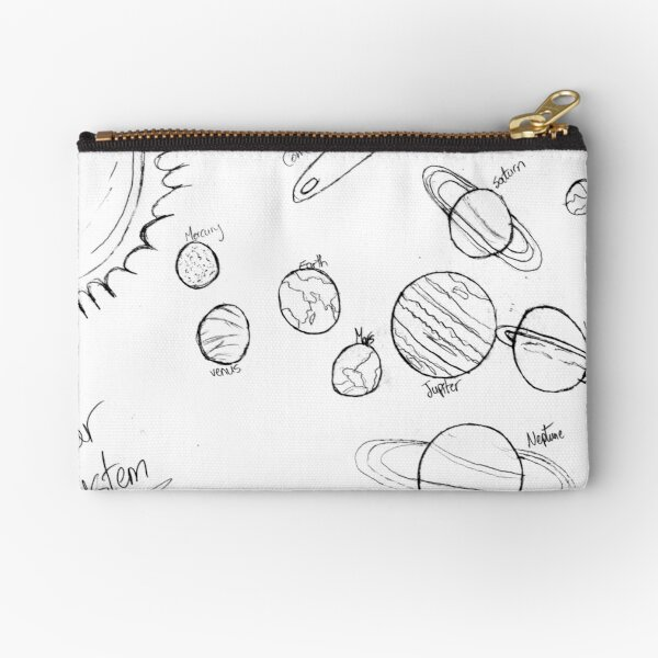 #Astronomy, #lineart, #text, #chalkout, scribble, vector, sketch, illustration, pencil, design, collection Zipper Pouch