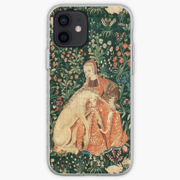 LADY AND UNICORN AMONG FLOWERS ,HARES,Red Green Floral iPhone Soft Case