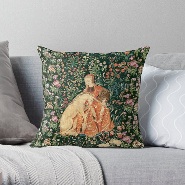 LADY AND UNICORN AMONG FLOWERS ,HARES,Red Green Floral Throw Pillow