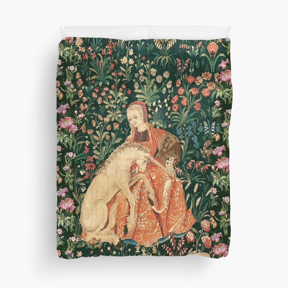 LADY AND UNICORN AMONG FLOWERS ,HARES,Red Green Floral Duvet Cover