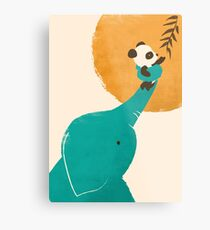 Panda's Little Helper Metal Print