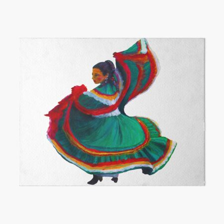 Baile Folklorico Vestido Verde Art Board Print
