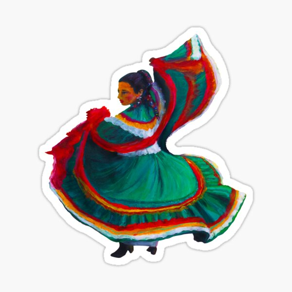 Baile Folklorico Vestido Verde Sticker