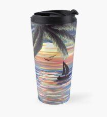 Palm Trees Sunset Ocean Painting Travel Mug
