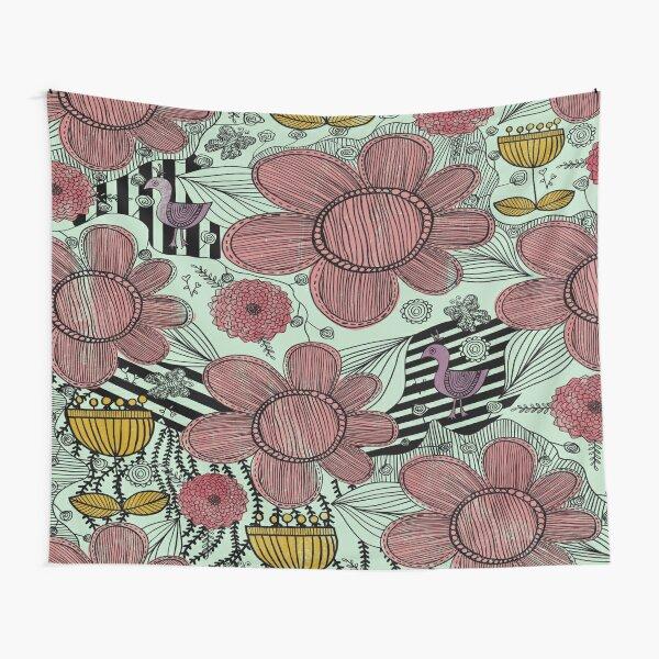 Whimsical Floral Folk Art Design  Tapestry