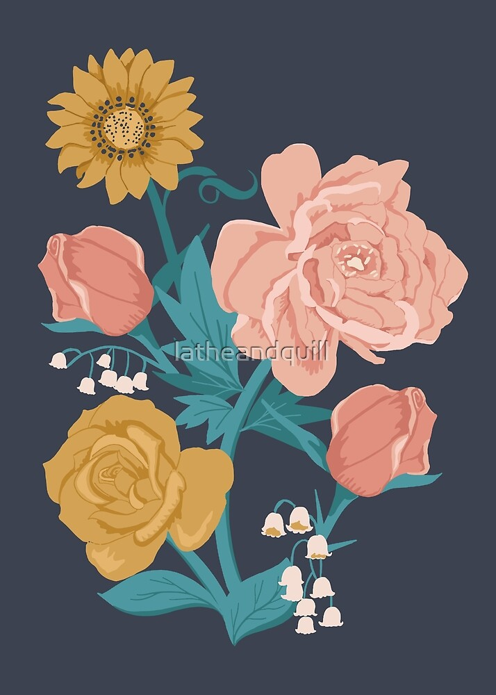 Pink + Gold Florals on Navy Blue by latheandquill