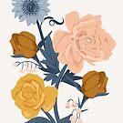 Blush + Gold Flowers on White by latheandquill