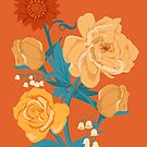 Yellow Florals on Orange by latheandquill