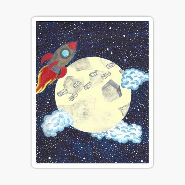 Rocket Ship and Moon Walk Sticker