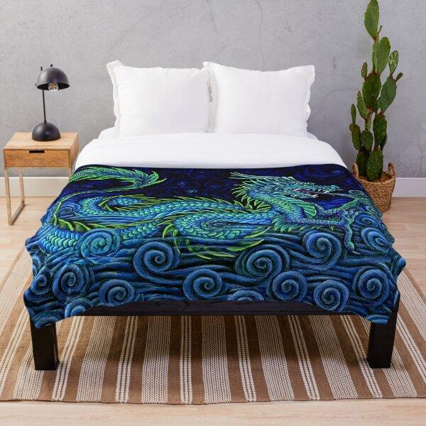 Chinese Azure Dragon Throw Blanket