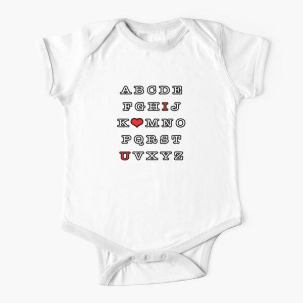 Alphabet Love. Short Sleeve Baby One-Piece
