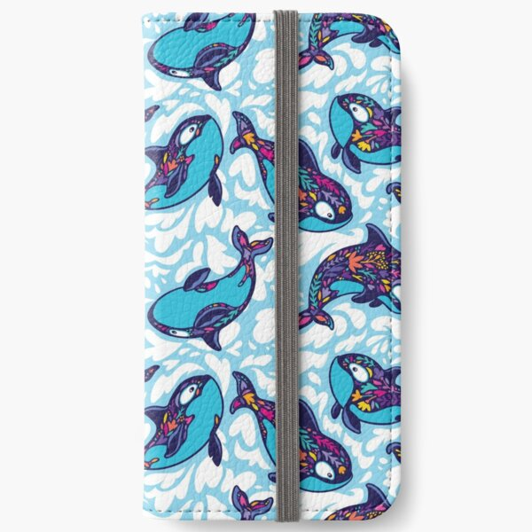 Floral Orca Whales iPhone Wallet
