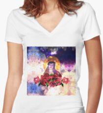 Como La Flor Women's Fitted V-Neck T-Shirt
