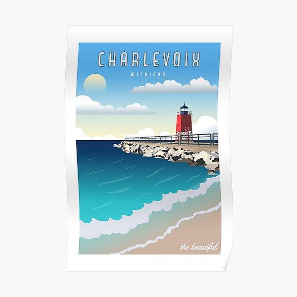 Charlevoix Michigan Vintage Travel  Poster