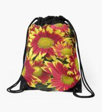 Fiery Orange and Yellow Dahlias Drawstring Bag