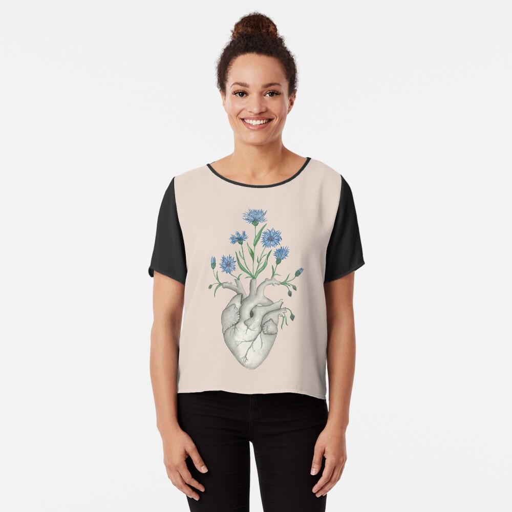 Floral Heart: Human Anatomy Cornflower Flower Halloween Gift Chiffon Top
