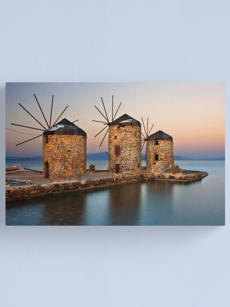 Alternate view of Old windmills of Chios island Canvas Print