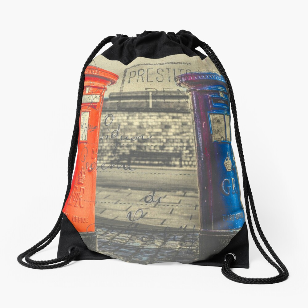 Vintage Style Postcard of British Post Boxes Drawstring Bag