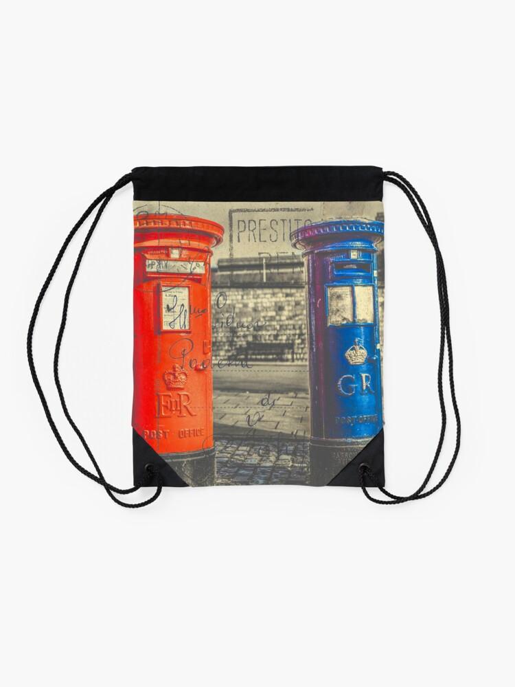 Alternate view of Vintage Style Postcard of British Post Boxes Drawstring Bag