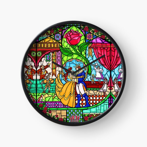 Muster des Buntglasfensters Uhr