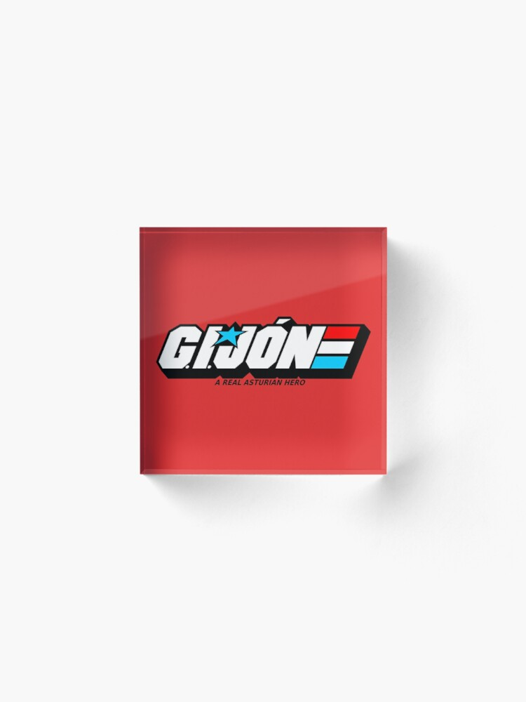 Alternate view of Gijon Heroe Asturiano - White Red Background Acrylic Block