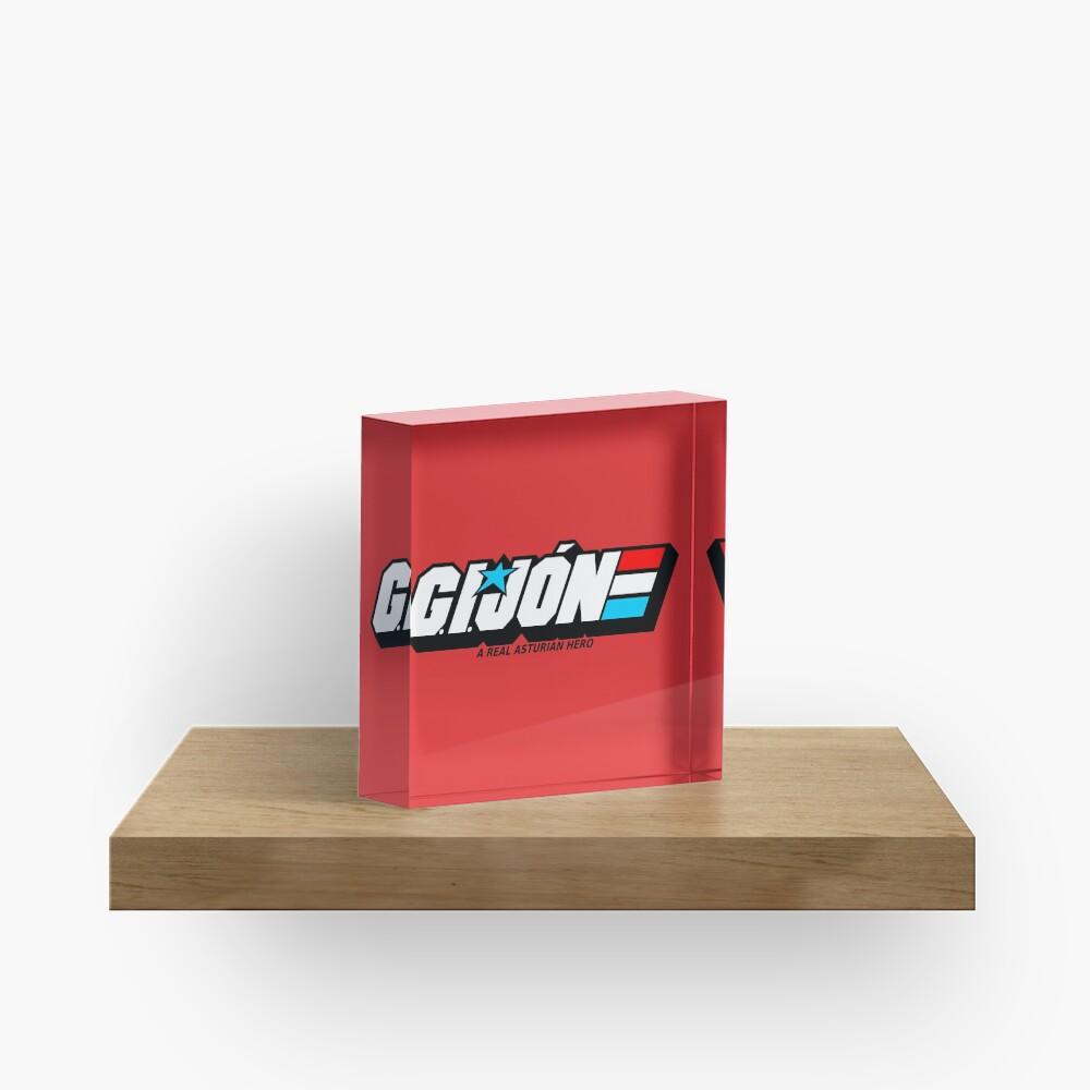 Gijon Heroe Asturiano - White Red Background Acrylic Block