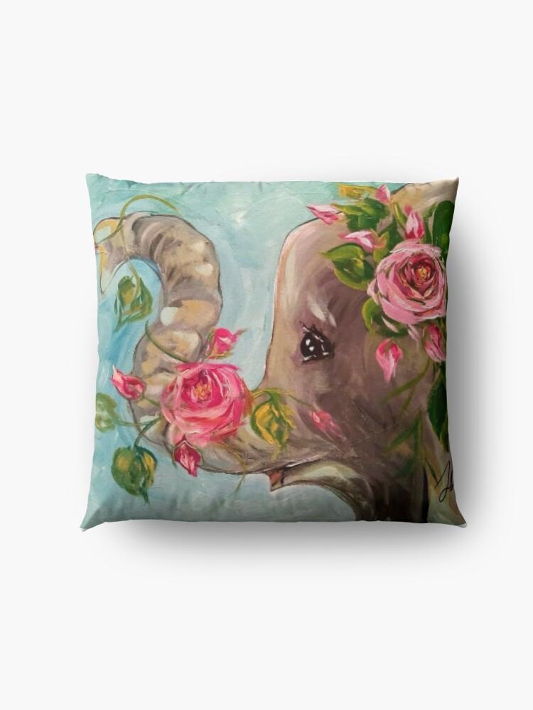 Alternate view of Rosey the elephant Floor Pillow