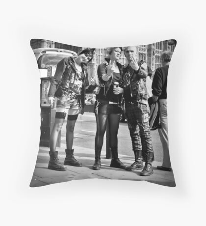 Punks in London: Punk Rockers Throw Pillow