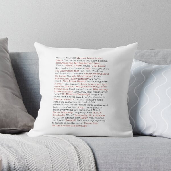 Fawlty Towers Dragonfly Scene Throw Pillow
