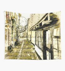 VintageStyle Postcard of an Old Backstreet Wall Tapestry