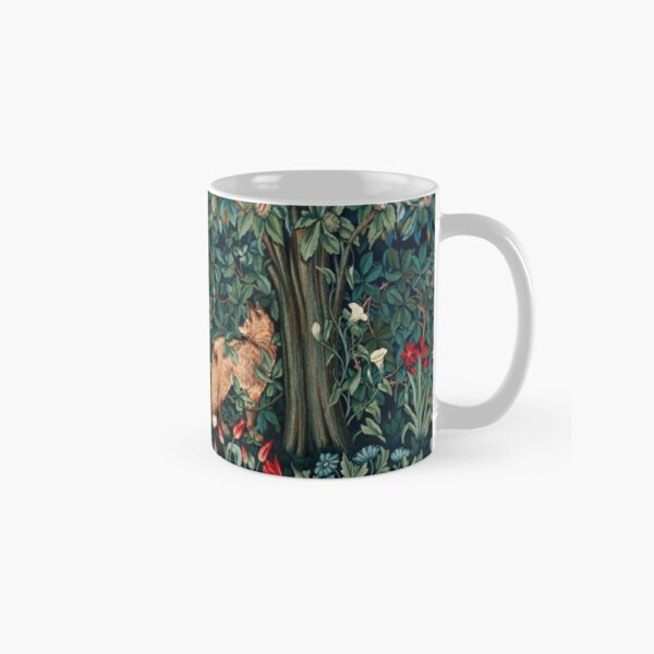 GREENERY, FOREST ANIMALS Fox and Hares Blue Green Floral Tapestry Classic Mug